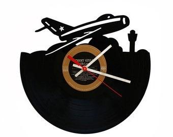 Record Clock Aeroplane AeroDrome Plane Record Clock Recycled
