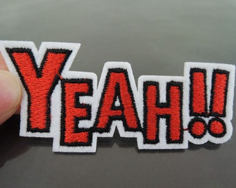 YEAH Letter Patches - Iron on or Sewing on Patch Letter Patches Red Yeah Patch Embellishments Embroidery fonts