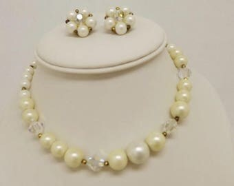 SpringSale17 Vintage Lisner Faux Pearl~Aurora Borealis Crystal~Choker/Necklace and Clip On Earrings-Lisner Necklace