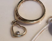 14 kt gold Baby Ring with heart dangle charm