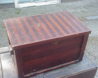 Great OLD Primitive Hand Pieced Chest, Solid Pine, Pieced Wood, Brass Latches, Well Loved, Heavy Treasure Casket