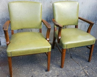Deco B.L. Marble Co Green Vinyl Chairs pair Office Armchairs Mid Century Set Primitive Distressed Whagn