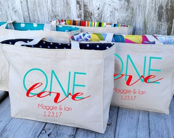 10+ LINED One Love Jamaica Canvas - Destination Welcome Wedding Natural Cotton Canvas Market Beach Tote