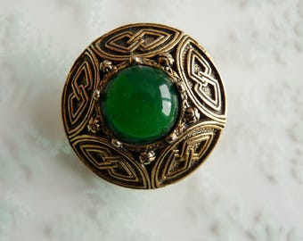 Vintage Celtic Tribal Scottish Style Green Glass Shield Brooch