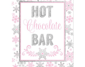Hot Chocolate Bar Printable Sign- Silver and Pink Snowflakes-Winter ONEderland Decorations-Winter Baby Shower Decor Snowflake Birthday Decor