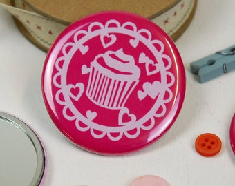 Cupcake Pink Pocket Mirror, Papercut Style Mirror, Gift for Her, Bridesmaid Gifts, Stocking Filler Gifts for Her