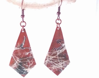 Everything is Connected - dark copper dangle earrings with texture
