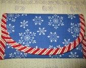 Christmas Snow Flake on blue fabric Bags & Purses Wallet money clip, Clutch Envelope Handbag accessory 7 x 4 women Grandma girls