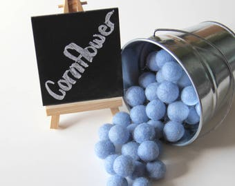 Felt Balls- Cornflower Blue- 20mm-Pk of 20