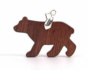Rustic Bear Totem Necklace Wood Animal Pendant Bear Jewelry Woodland Hand Cut Scroll Saw Walnut