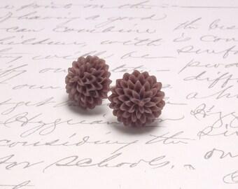 Chocolate Brown Resin Flower Dahlia Earrings. Simple Floral Post Stud Earrings.