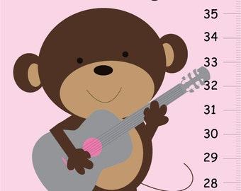 Rock star Monkey GROWTH CHART in pink