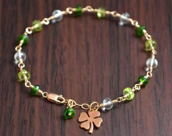 St Patrick's Day Bracelet, Gold or Sterling Silver Jewelry, Real Peridot Chrome Diopside Green Amethyst, Gemstone Jewelry, Free Shipping