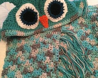 Hooded Owl Blanket, Crochet Owl Blanket, Childs Hooded Owl Blanket
