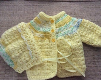 Sweater set Newborn color Yellow and variegated
