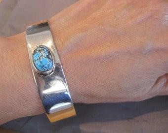 Vintage Sterling Turquoise Navajo Cuff Bracelet