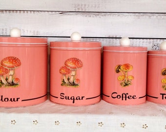 Vintage 1960's Midcentury Shabby Chic Pink NC Colorware Set of 4 Kitchen Cannistets
