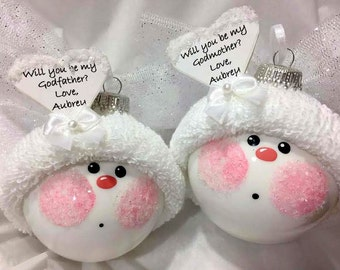 GODmother GODfather Gift Baptism Ornaments White Angel Personalized Heart Sample Will You Be... Townsend Custom Gifts - F - BackRoom