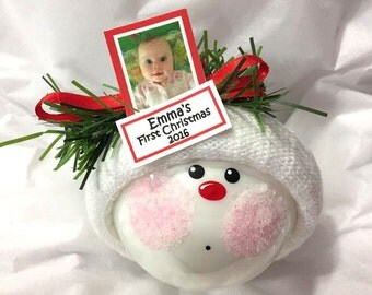 Photograph Christmas Ornaments 2017 Personalized Photo & Name Tag Samples Hand Painted Handmade Themed by Townsend Custom Gifts