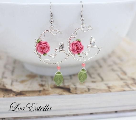 Hummingbird Earrings Pink floral earrings bird earrings Pink flower earrings Garden Earrings Leaf earrings Woodland- Hummingbird's Flight