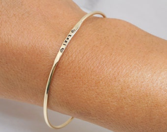 14k Skinny Stacking Bangle Personalized with Tiny 1mm Letters & Numbers Solid Gold Bracelet Casual Style Everyday Wear Jewelry Gift for Her