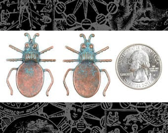 Verdigris/Copper Plated Brass Beetle Flat Setting on Back Set of Two * V-P71