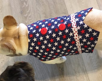 French Bulldog Patriotic Summer Vest in Red, White, and Blue