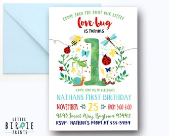 BUG Invitation BUGS Birthday invitation Bug first birthday invitation Insect Birthday Boy Bug Invitation Snail Worm Bee Invitation Insects