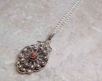 Red Coral Necklace Sterling Silver Filigree 19 Inch Snail Chain Vintage 021116RV