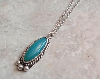 Gem Silica Necklace Chrysocolla Sterling Silver Vintage 031116SB