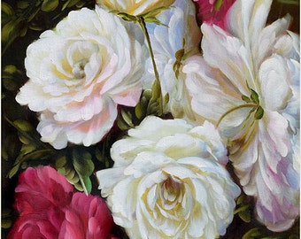 ORIGINAL Oil Painting Summer Roses 36 x 23 Colorful Flower White Pink Red Purple Green Brown Realism Love  Romance Brush ART by Marchella