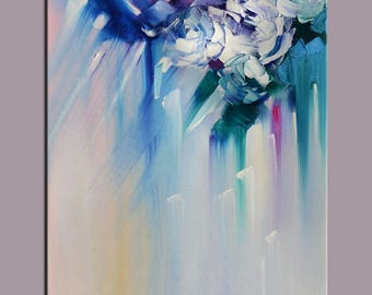 ORIGINAL Oil Painting Blue Blossom Brush and Palette knife Textured Foggy Soft Grey Purple Handmade Art by Marchella