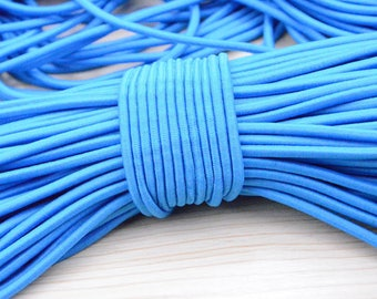 5 yds 4mm Elastic Drawcord in Aegean Blue, polyester elastic cord, stretch rope cord string