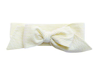Yellow Seersucker Bow Headband - Infant Headband - Fabric Bow Headband - Baby Headband - Topknot Headband - Toddler Headband Big Bow