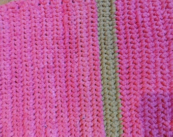 bright pink and lime upcycled tshirt rug rectangle bathmat
