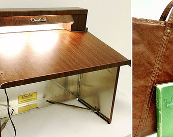 Vintage Light-Up Podium 1960s Oravisual Metal Folding Travel Lectern w/ Case and Lights Great Condition
