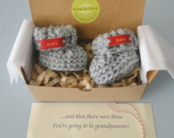 Grandparent Pregnancy Announcement , BOOTIES IN A BOX®  Cuffs with Leather tags, Three Colors,  Adorable Pregnancy Reveal or Shower Gift,