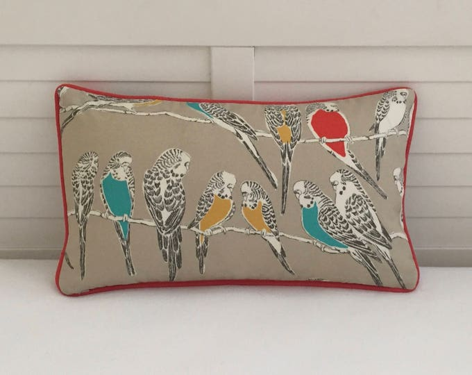 Retweet Birds in Fruit Cocktail (on Both Sides) with Choice of Piping Color Indoor Outdoor Pillow Cover - Square, Euro and Lumbar Sizes