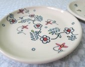 Handmade Snack Plate Wheel Thrown Pottery Floral Pattern Illustration Cute Small Plate Small Dessert Plate Flowers Pattern