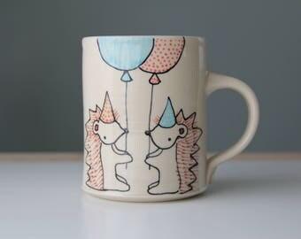 Hedgehog Coffee Mug Handmade Pottery Coffee cup tea cup cute animal themed ceramics illustrated pottery hedgehog woodland themed cute gift