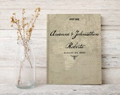Map wedding guest book, Wedding guestbook, Hardcover Sign in book,  Vintage map gb0059