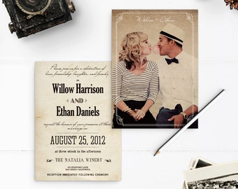 "Vintage Rustic Wedding Invitations, Picture wedding invitations, 5x7, Wedding Invites, the ""Willow"""