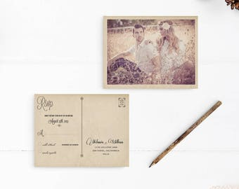 "Rsvp postcard, 4.25x5.5, Rsvp card - the ""Melania"""