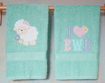"Spring Easter Applique Towel Set.  Lamb and I Love Ewe. Great hostess gift. Hand Towels 16"" x 26"". Ready to Ship. Teal Color"