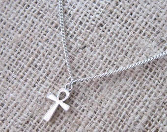 Silver Egyptian Ankh Necklace - Pendant with Stainless Steel Chain