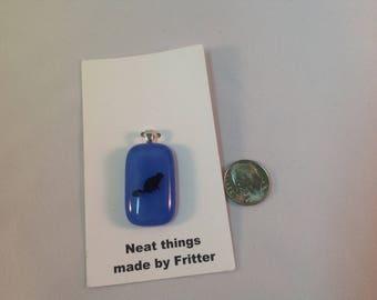 Fused Glass Cat pendant, C14