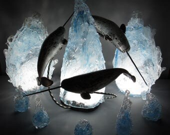 Blown Glass Narwhal Arctic Iceberg Sculpture by Andy Libecki