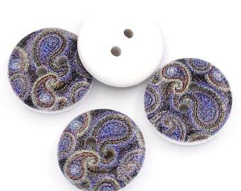 15 Piece blue swirl design buttons