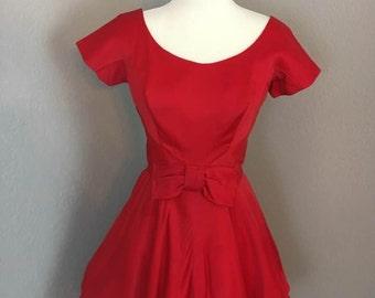 Vintage 1950s cherry red satin cocktail formal peplum bubble dress sz XS S