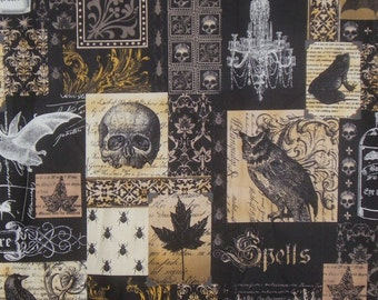 Black and Gold Nevermore Collage Print Pure Cotton Fabric from Michael Miller--One Yard